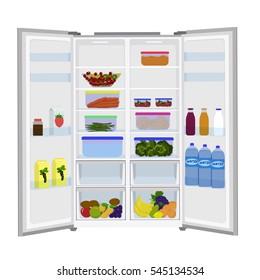 Open fridge. Full of fresh fruits and vegetables refrigerator. Icon set isolated on white background. Flat  stock illustration