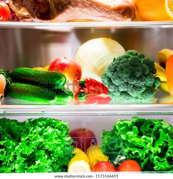 Open Fridge Healthy Food Vegetables Fruits Stock Photo Edit