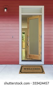 open door welcome mat. Open Front Door With Welcome Mat