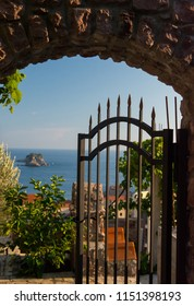 Open gate to the adriatic sea. Sea view on the island from mountain. Petrovac town, Montenegro.