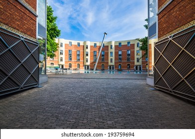 Open gate with houses in a circle