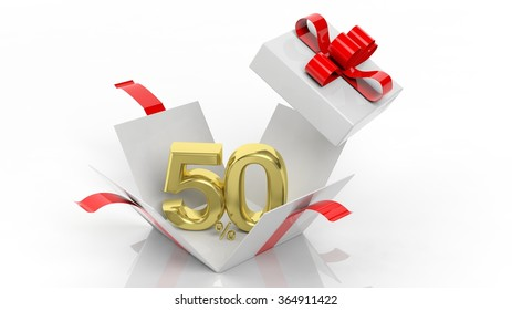 Open gift box with gold 50 percent number in it, isolated on white background.