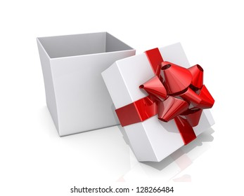 Open gift box with a red ribbon and bow on a shiny white background.