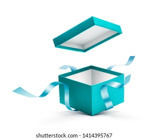 Open gift box with ribbon isolated on white background