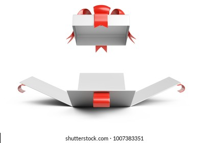 Open gift christmas box blank front wiev with red bow. Isolated on a white background 3d illustration