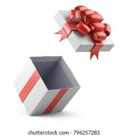 Open gift christmas box blank. Isolated on a white background 3d illustration.