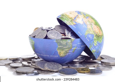 Open globe filled with coins