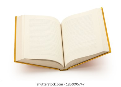 Open gold hardcover book with blank pages - clipping path (at Maximum size)