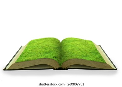 Open grass book isolated on white background