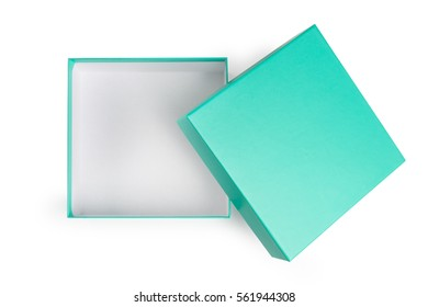 Open green gift box on white background.