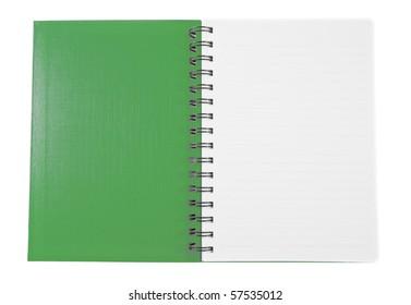 Open green notebook