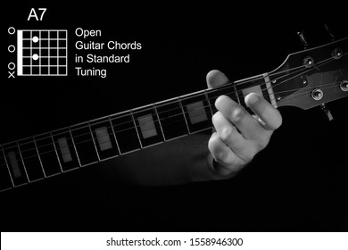 Open Guitar Chords in Standard Tuning guitar tutorial series. Closeup of hand playing A7 chord on guitar, on black background. Black and white photo.