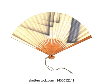 Open Hand Fan Isolated on a White Background.