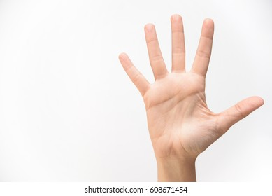 open hand on white background