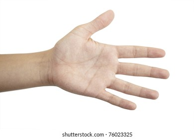 open hand on a white background