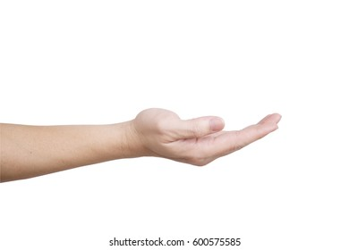 Open hand with palm up isolated on white background