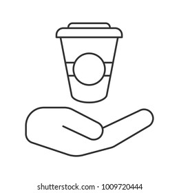 Open hand with paper cup linear icon. Free coffee, tea to go. Thin line illustration. Hot drinks. Contour symbol. Raster isolated outline drawing