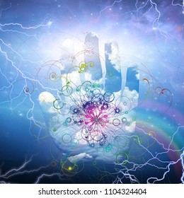 Open hand and particle design. Rainbow and lightnings. 3D rendering