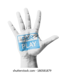 Open hand raised, Fair Play sign painted, multi purpose concept - isolated on white background