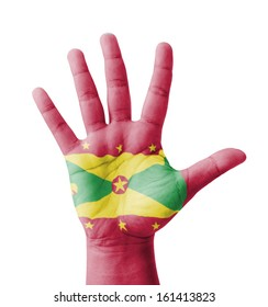 Open hand raised, multi purpose concept, Grenada flag painted - isolated on white background