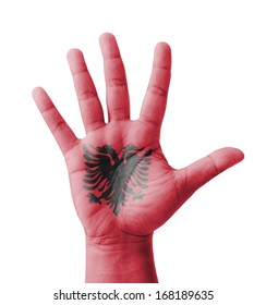 Open hand raised, multi purpose concept, Albania flag painted - isolated on white background