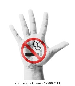 Open hand raised, No Smoking sign painted, multi purpose concept - isolated on white background