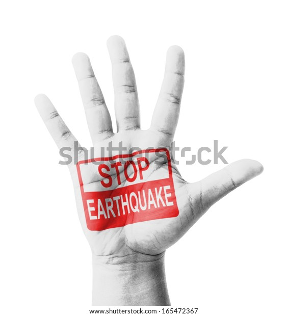 Open hand raised, Stop Earthquake sign painted, multi purpose concept - isolated on white background