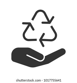 Open hand with recycling sign glyph icon. Pollution prevention. Silhouette symbol. Waste recycling. Negative space. Raster isolated illustration