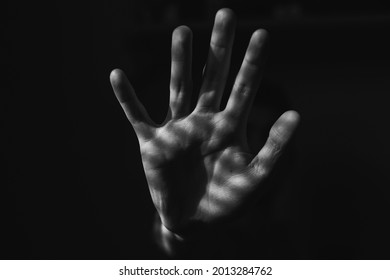 open hand talking stop. close-up on hands. black and white photo. abstract art. soft palm - Shutterstock ID 2013284762