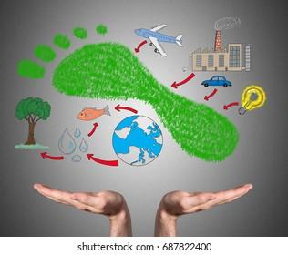 Open hands sustaining carbon footprint concept