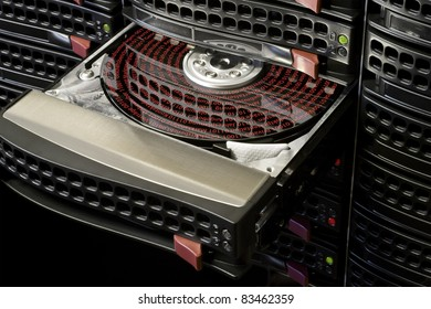 open hard disk with symbolized data in hot swap frame