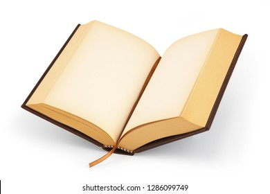 An open  hardcover book with blank pages with clipping path
