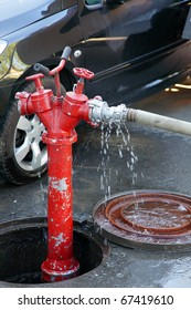 open hatch of a fire hydrant