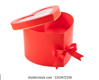 open heart shaped red box isolated on white. gift concept