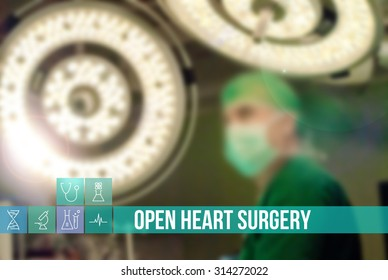 Open Heart Surgery medical concept image with icons and doctors on background