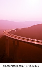 Open highway at sunset ,  highway at sunset ,crni kal , Slovenia , dual toning