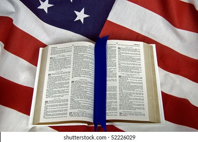 open holy bibile on american flag