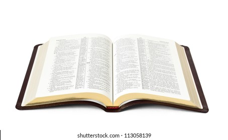 open Holy Bible book isolated on white background
