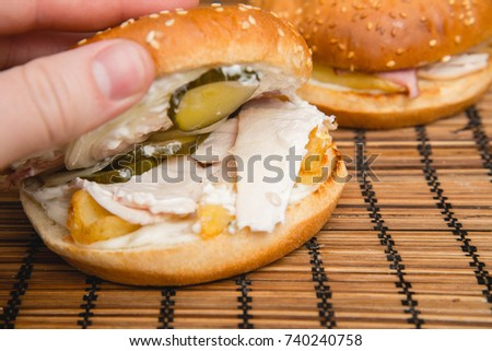 Open Home Made Burger Chicken Onion Stock Photo Edit Now 740240758