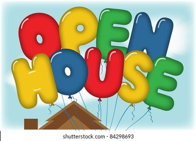 Open House Balloons in Blue Sky over a House Rooftop Postcard