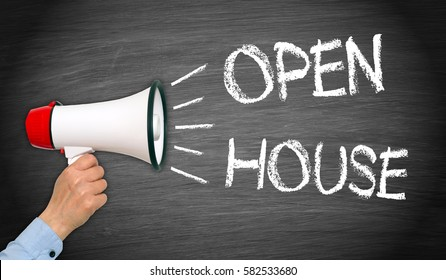 Open House - Megaphone with female hand and text on chalkboard background
