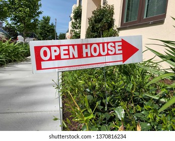 An Open House sign for real estate.
