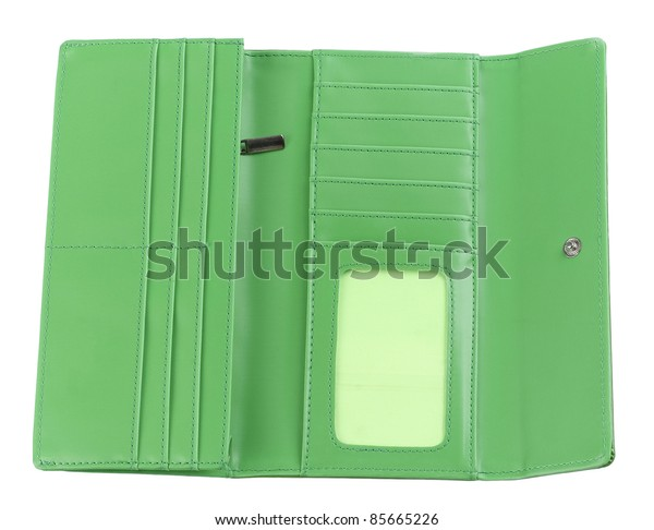 Open inside genuine leather wallet for put your ideas money cards or others into, the image isolated on white