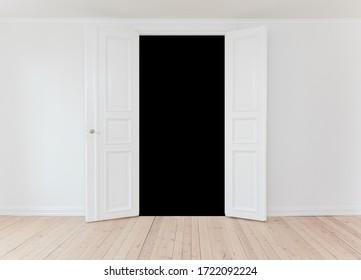 Open internal white wooden double door with copy space in empty interior room