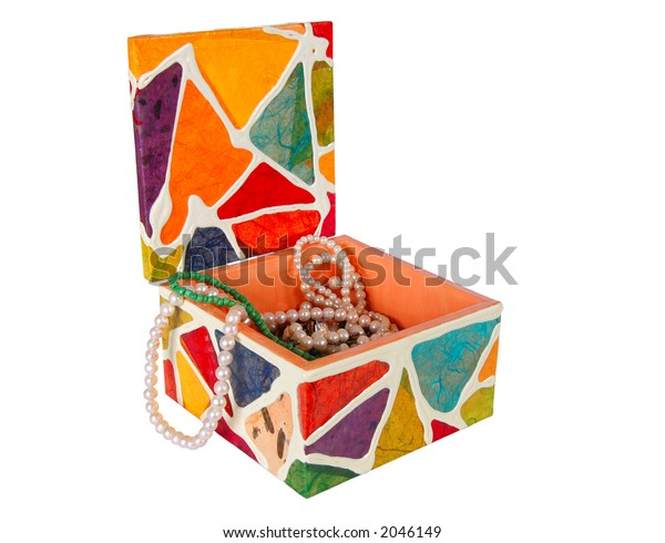 Open jewelry box isolated with clipping path