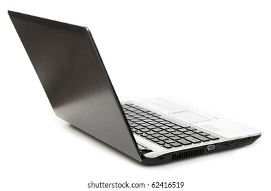 Open the laptop on a white background.