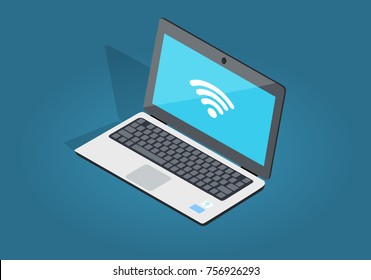 Open laptop with wi-fi connection flat and shadow theme isolated on blue. Sign of internet attachment on blue screen of notebook.  illustration of laptop and wireless network in cartoon style.