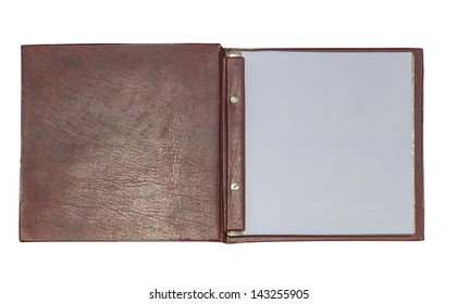 Open leather book isolated on white background