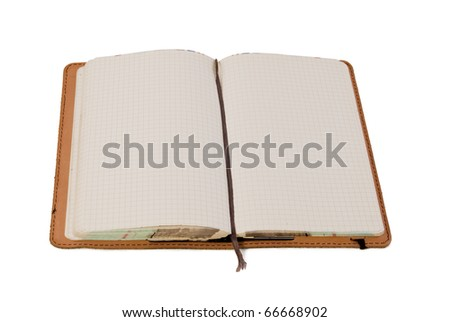 open leather journal blank pages stock photo edit now 66668902