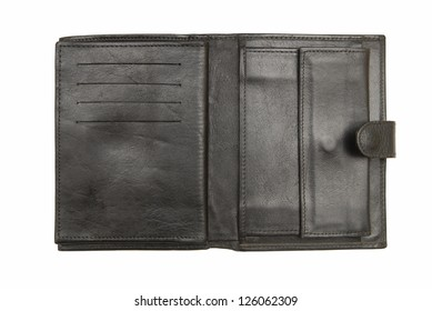 Open leather wallet  is on white background.